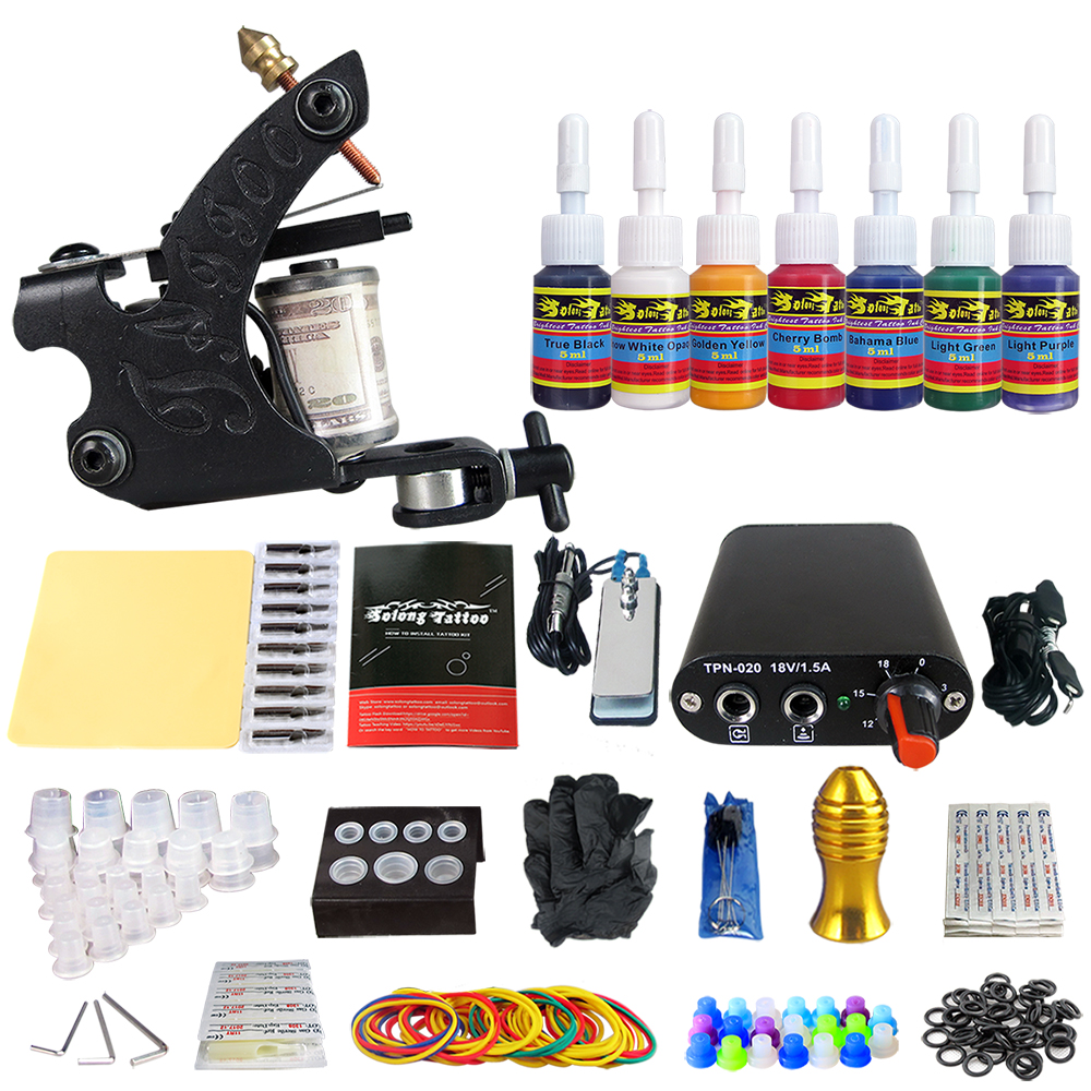 Hybrid Complete Tattoo Coil Machine Kit For Liner Shader Power Supply Foot Pedal Needles Grip Tips Tattoo Body&Art TK105-79Hybrid Complete Tattoo Coil Machine Kit For Liner Shader Power Supply Foot Pedal Needles Grip Tips Tattoo Body&Art TK105-79