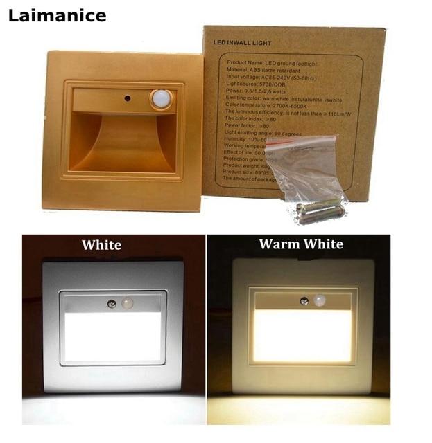 AC85 265V 1.5W Luminaria PIR Motion Sensor Stair Lights LED Wireless Wall  Lamp Footlights