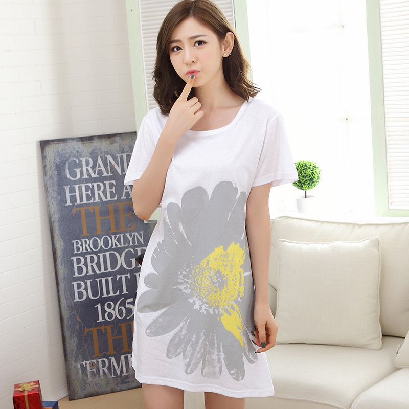 Summer Cotton   Nightgown   Women's   Nightgowns     Sleepshirts   Floral Nightdress Girl Sleepwear Femme Pyjamas Women Lounge White Dress