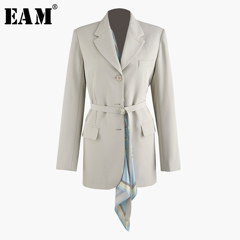 [EAM] 2020 New Spring Autumn Lapel Long Sleeve Irregular Scarf Split Joint Loose Bandage Jacket Women Coat Fashion Tide JT846
