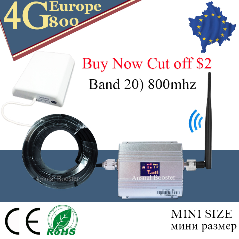 For Europe 4G LTE 800 Band 20 Signal Repeater 4G LTE Mobile Phone Cellular Signal Booster Amplifier