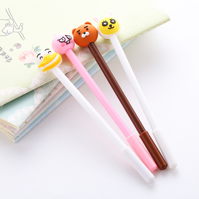 JZYILLXT 2018 New hot sale cute kawai Creative cartoon gel pen 0.5mm office school pen Student classmate supplies gift Wholesale 5pack 10pcs hot sale new cute silicone finger pointing bookmark book mark office supply funny gift
