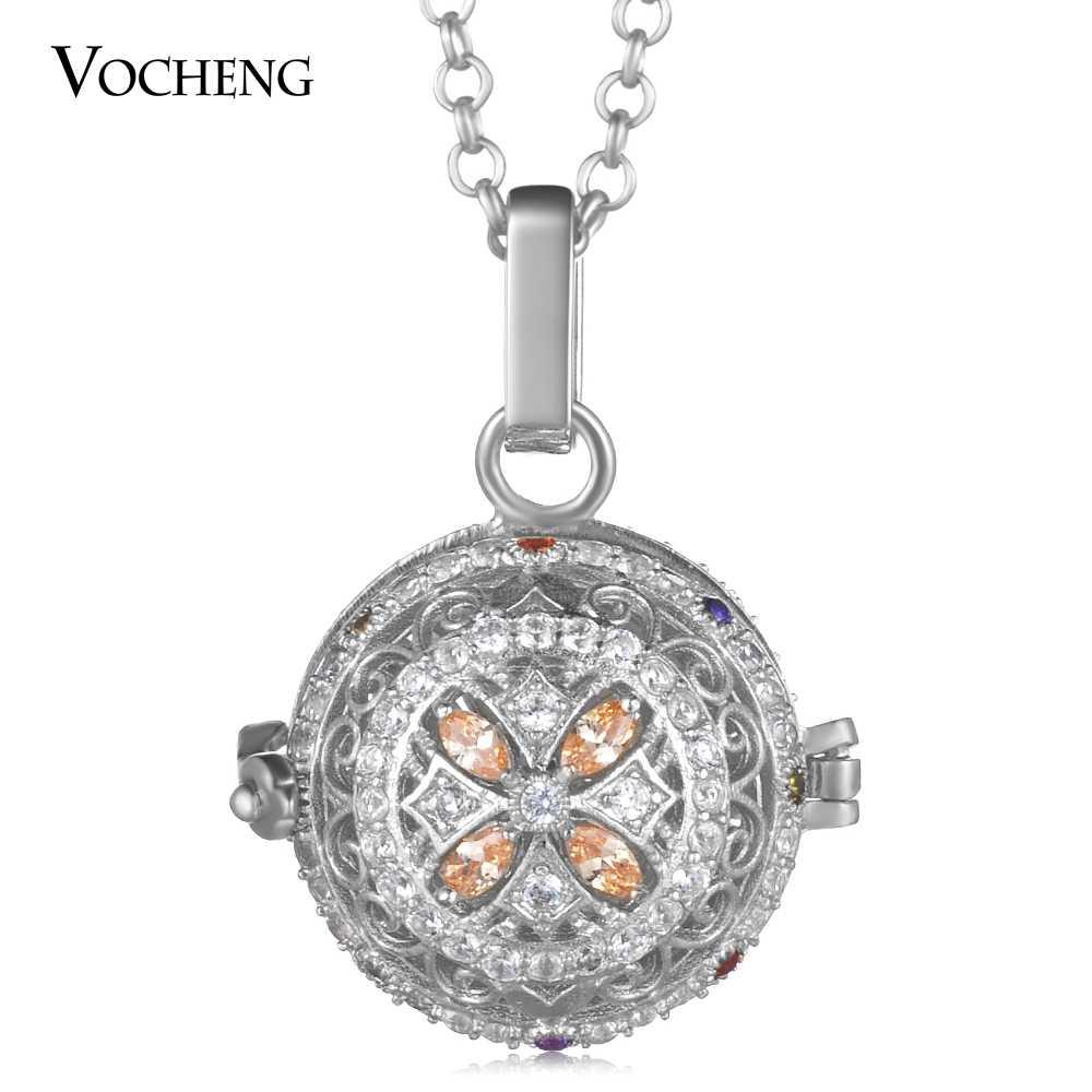 Медальон с ангелом ожерелье 3 цвета кубического циркония камень ангел ожерелье с шариком цепь из нержавеющей стали VA-397