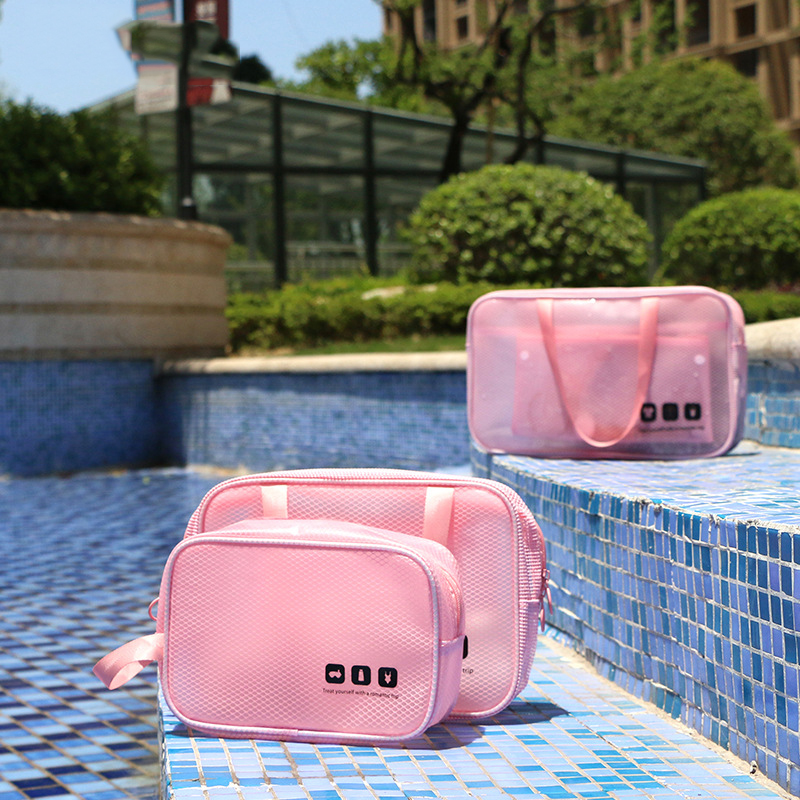 Toiletry Bag Portable PVC Pouch Handbag Waterproof Bathroom Organizer Shower Bag Travel Cosmetic Bags Organizer For Women&Men