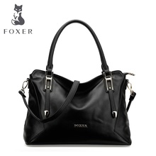 FOXER fourre-tout Décontracté Doux Véritable peau de vache en cuir d'épaule Sac Grand solide femmes sac à main avec livraison gratuite