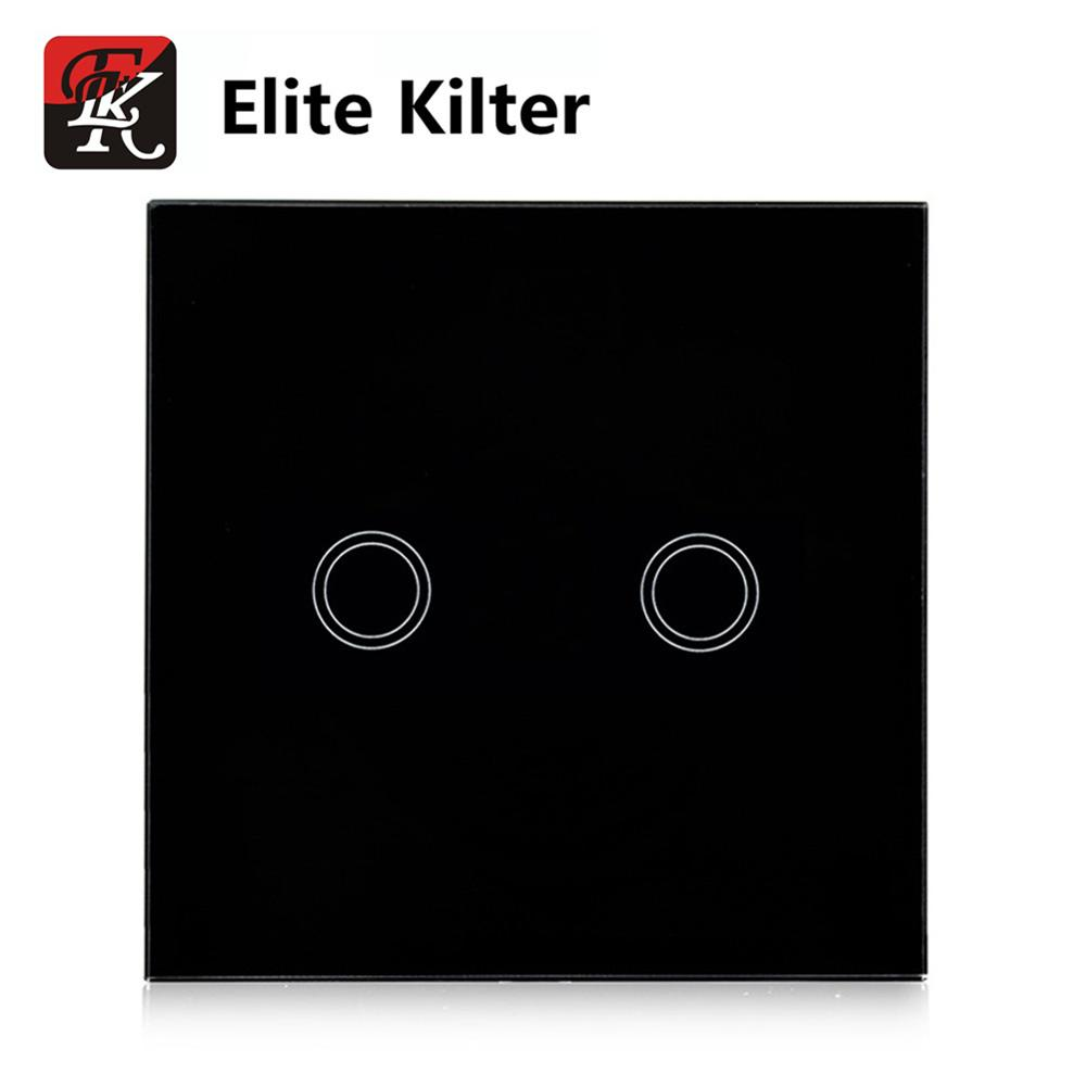 Elite Kilter EU Standard, Remote Switch, Crystal Glass Panel, ,Wall Light Remote Touch Switch+LED Indicator elite kilter touch switch 1 gang 1 way eu uk standard crystal glass switch panel smart touch wall light switch ac 170v 240v