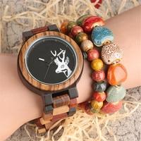 Elk Deer Head Design Quartz Creative Watches Natural Wooden Men Wrist Watch Mixed Colorful Wood Band Clock Male Gift Box 2018
