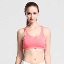 Women Professional Sports Running Jogging Bra Mesh Stitching Absorb Sweat Quick Drying Workout Top Vest In Stock