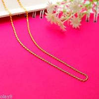 Fashion Pure 999 24K Yellow Gold Chain Women's Rope Link Necklace 18inch