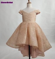CloverBridal באיכות טובה בלינג יוקרה הנצנצים V צוואר גבוהה נמוכה בנות להתלבש כבוי כתף פרח זהב ריקוד מסיבת ילדה