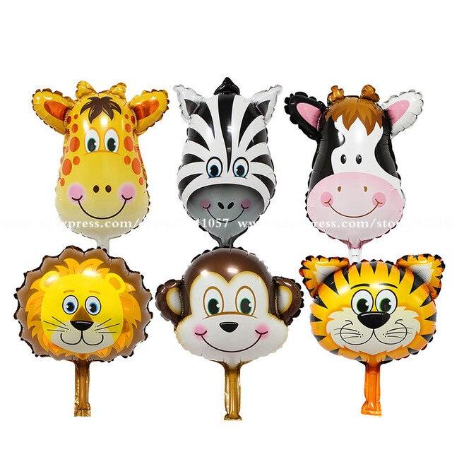 6pcs/lot mini Jungle Animal foil Balloons Lion & monkey & zebra & deer Helium Ballon birthday party decoration Safari zoo globos