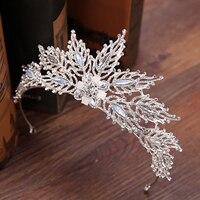 Exquisite Swan Design Crystal Pearl Tiaras Crowns Bride Wedding Hair Accessories Crowns Women Hair Headbands Hair