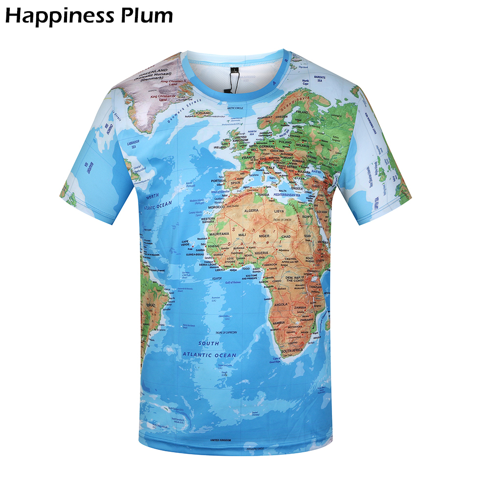 World Map 3d Print T shirt Funny T Shirts 2017 Summer Brand Clothing Mens T s