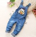 1-2.5Y new 2016 spring boys cartoon jeans overall baby boy jeans pant children clothing boys spring autumn pant