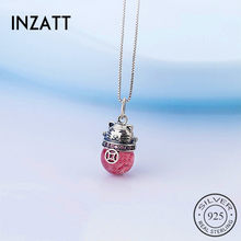 INZATT Real 925 Sterling Silver Strawberry Crystal Cat Choker Pendant Necklace For Fashion Women Fine Jewelry Cute Accessories(China)