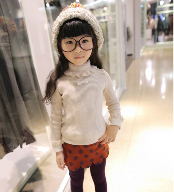 2016 spring winter turtleneck girls sweater thick cashmere sweater kids bottoming cardigan bow flowers pull reine des neiges