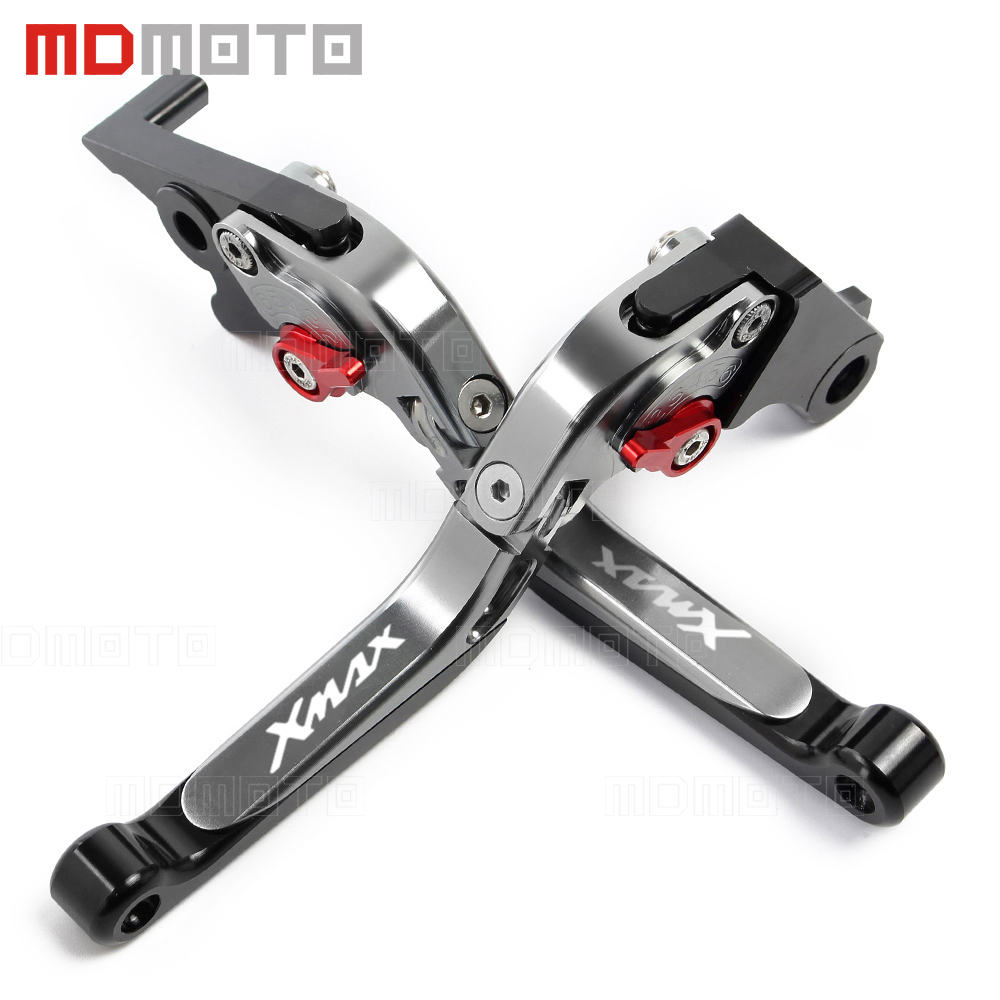 XMAX 300 Motorcycle CNC aluminum Adjustable brake clutch levers For Yamaha X-MAX 250 300 400 2017 2018 handle bar accessories for gilera piaggio x evo 400 x8 x9 125 200 250 500 silver motorcycle aluminum adjustable short left right brake levers