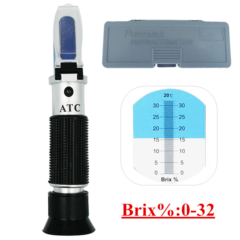 Boîte au détail Brix Réfractomètre testeur compteur avec ATC + huile d'étalonnage Sucre: 0-32% outils pour Fruits Légumes Jus 47% off