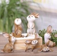 Home Decoration Gift Small Replika Model Miniatures Resin Artificial Animal Mini Rabbit