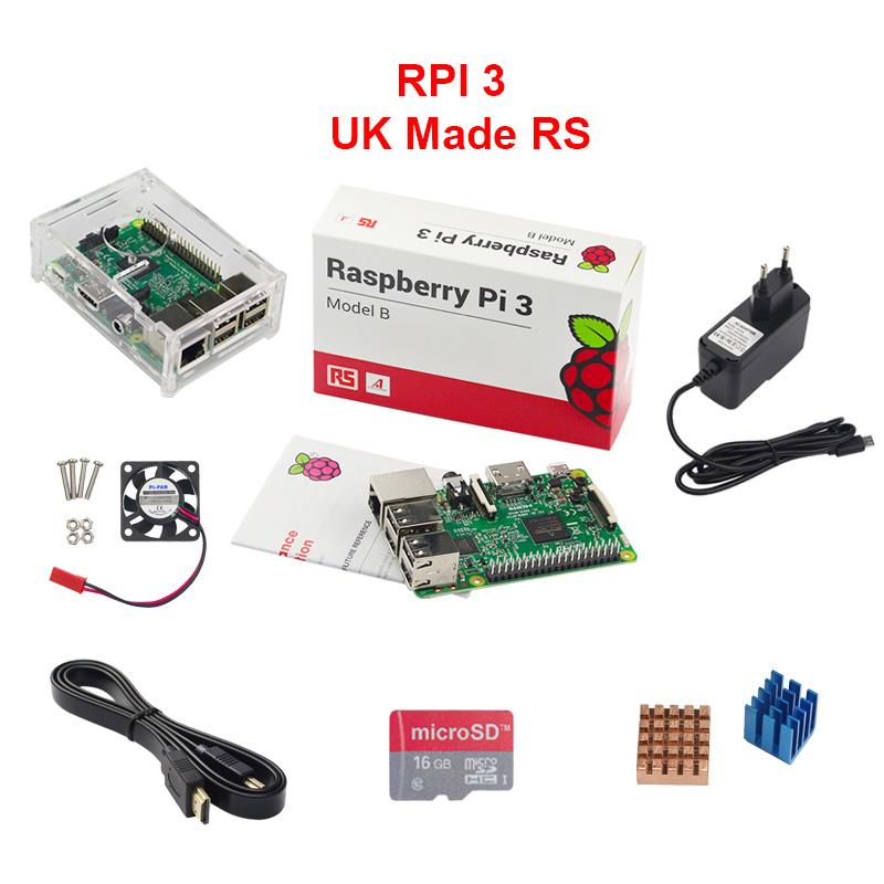 Prix pour ROYAUME-UNI RS Raspberry Pi 3 Modèle B + Acrylique Cas + 16G SD Carte + CPU Ventilateur + 2.5A Puissance Adaptateur + 1.5 M HDMI vers HDMI Câble + Chaleur évier