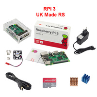 UK RS Raspberry Pi 3 Model B Acrylic Case Fan 2 5A Power Adapter 1 5M