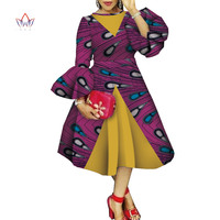 Autumn African dresses for women Dashiki Flare Sleeve African Clothing bazin riche Wax Print garment for lady WY4544