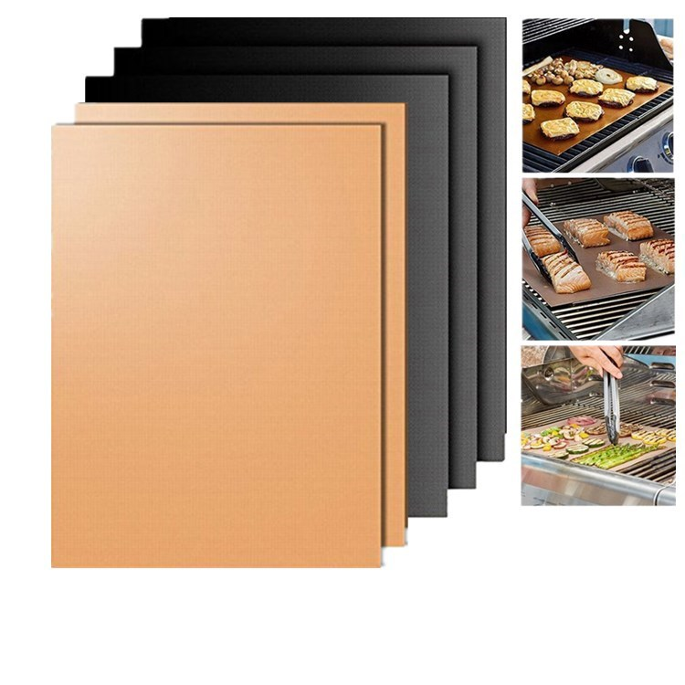 5 cs Non-stick BBQ Grill Mat Barbecue Baking Liners Reusable Teflon Cooking Sheets 40 * 33cm Cooking Tool 3 Colors Choices
