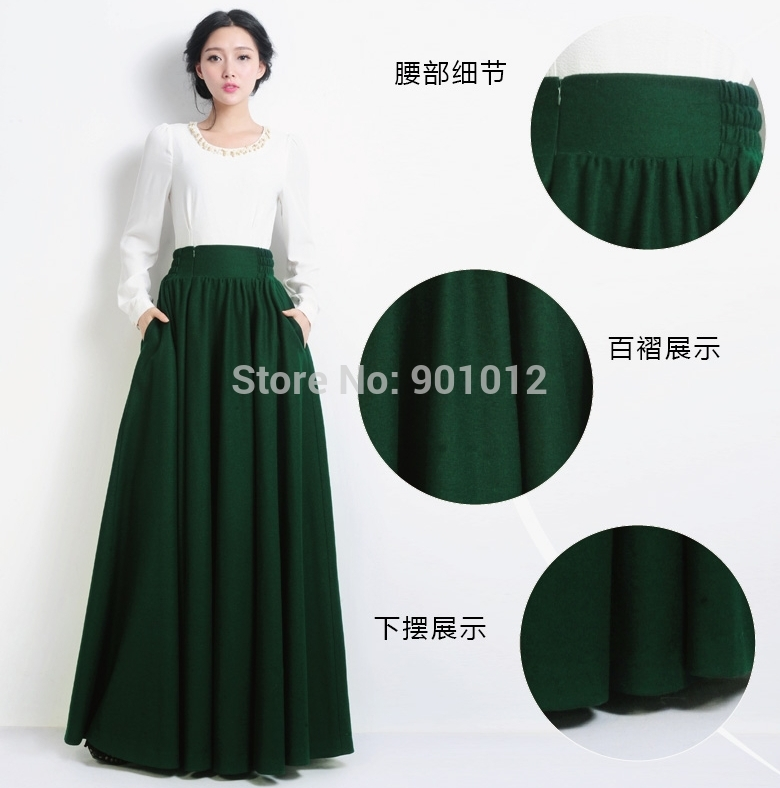 Winter Warm Formal Gentle Womens Wool Woolen Long Skirts Casual ...