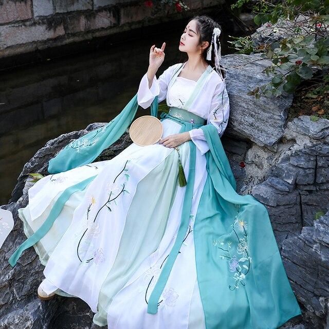 Hanfu Disfraz chino antiguo traje de danza folclórica tradicional para mujer, ropa de la dinastía Tang, disfraz de hada bordada para escenario