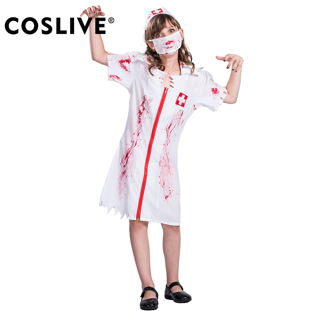 Coslive Dressvoguer Halloween Girls Blood Nurse Cosplay Costume Doctor Uniform Fancy Dre ...