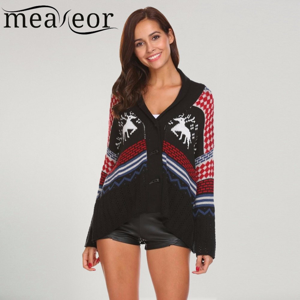Meaneor Women Sweaters Christmas Cardigans Loose Sweater Casual V Neck Long Sleeve Button Front Christmas Print Sexy Warm Tops