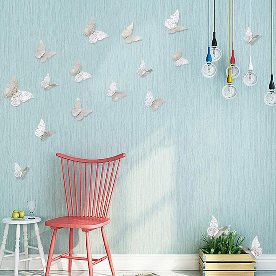 12 Pcs 3D Hollow Wall Stickers Butterfly Fridge for Home kitchen ...