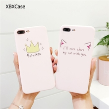 Фотография Cute Pink Soft Case for iPhone 6 6s 6plus 6 s Plus TPU Silicone Crown Cat Ear Foot Pattern Case Back Cover for iPhone 7 7+Plus
