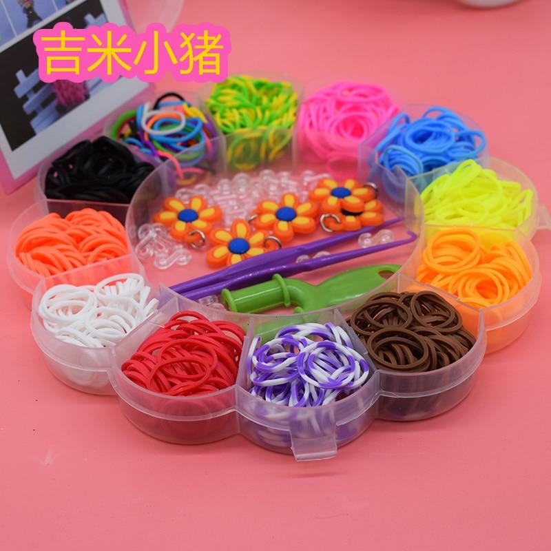 600PCS 12 Color Loom Bracelet Toys For Children Rubber Band Kits Craft Toy 1Hook Colorful DIY Loom Bracelets Girl Hair Band Gift