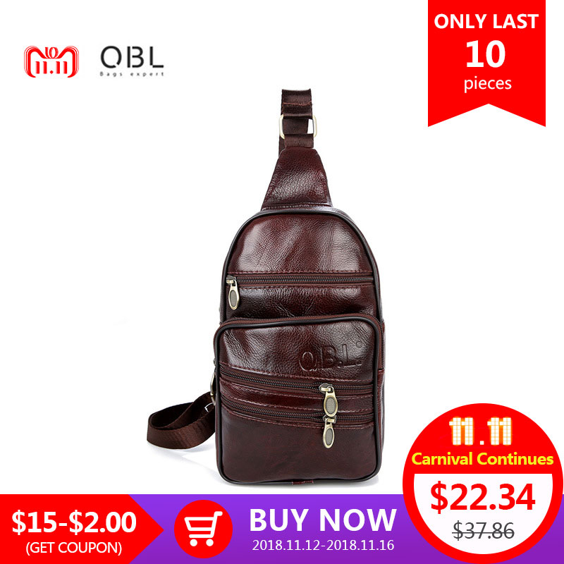 def68d85e5e0 QiBoLu Genuine Leather Mens Sling Bag Single Shoulder Bag Men Chest Pack  Messenger Crossbody Bag for