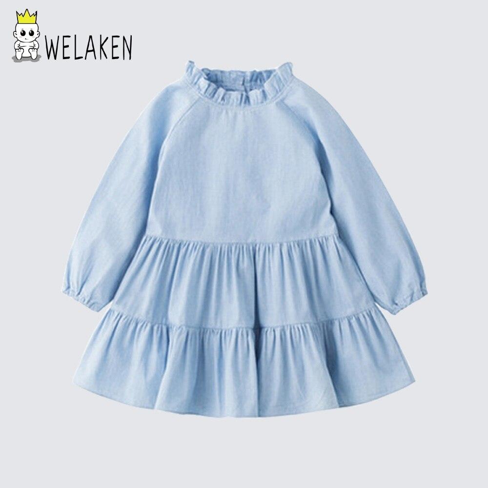 WeLaken Filles Princesse Robe 2018 Printemps & Automne Manches Longues Pur Couleur Gâteau Robe Enfant Vêtements Pour Enfants Enfants Robe Pour filles