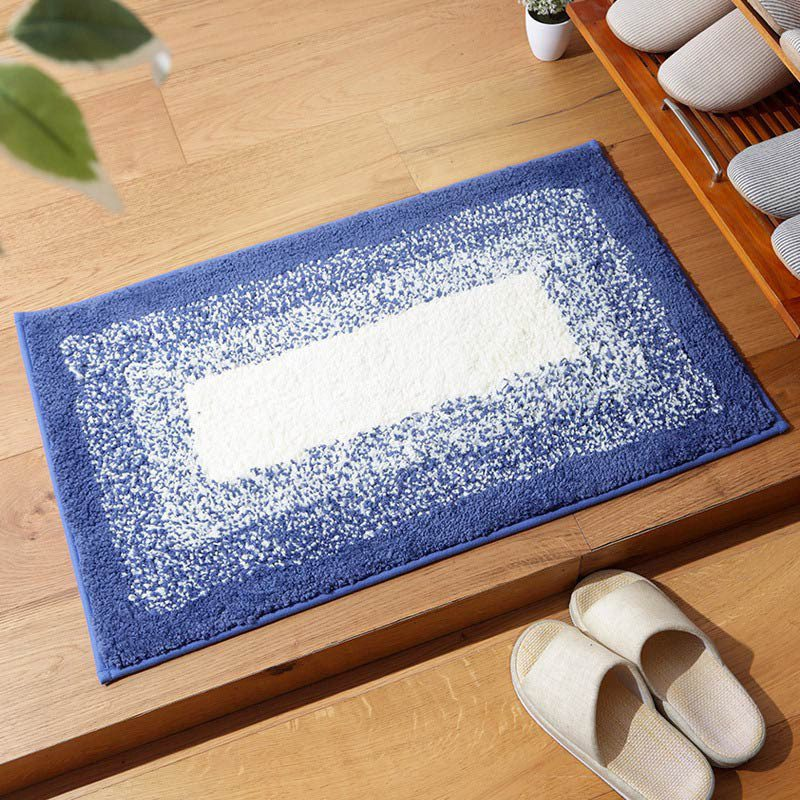 Non-Slip Rectangular Rug Soft Polyester Gradient Color Water Absorbent for Door Bathroom Bathtub Machine Washable 40 x 60cm image