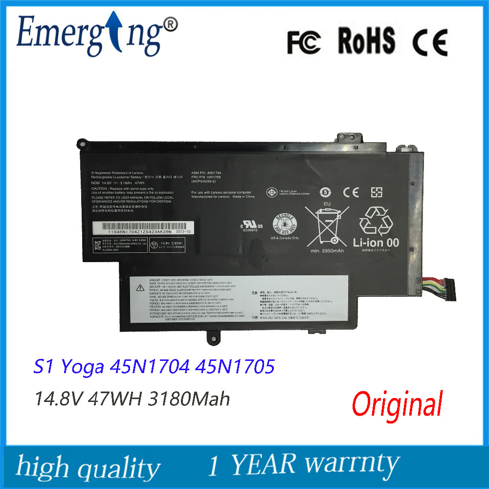 14.8V 47Wh New Original Laptop Battery for Lenovo Thinkpad 12.5 YOGA S1 45N1704 45N1707 45N1705 new original for lenovo thinkpad yoga s1 yoga 12 us keyboard 04y2620 00ht989