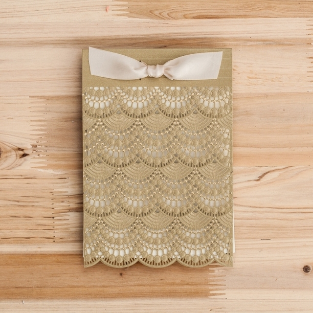Gold Laser Cut Lace Wedding Invitations Handmade Ribbon Greeting Birthday Printing Card Supplies Cw5286