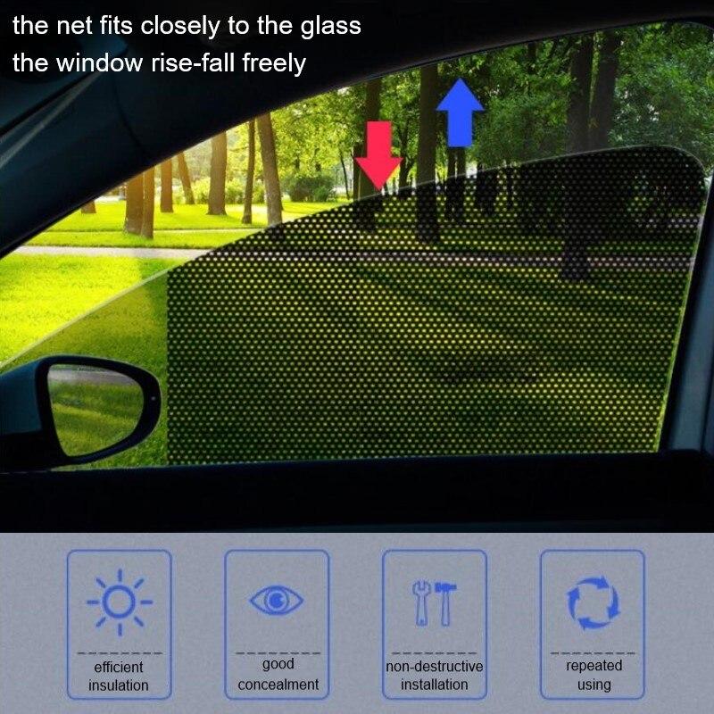 2 pçs sunshades do carro malha etiqueta eletrostática janela lateral pára-sol cortina interior do carro proteção uv acessórios exteriores