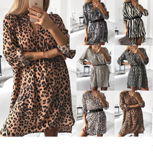 Womens Spring Sexy Leopard Dress Snake Print Striped Long Sleeve V-neck Feminine
