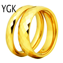 Фотография 2PCS/Pair Free Shipping Cheap Price USA Russia Brazil Hot Sales 4MM/6MM Golden Faced Tungsten Carbide Wedding Ring Sizes 6-12
