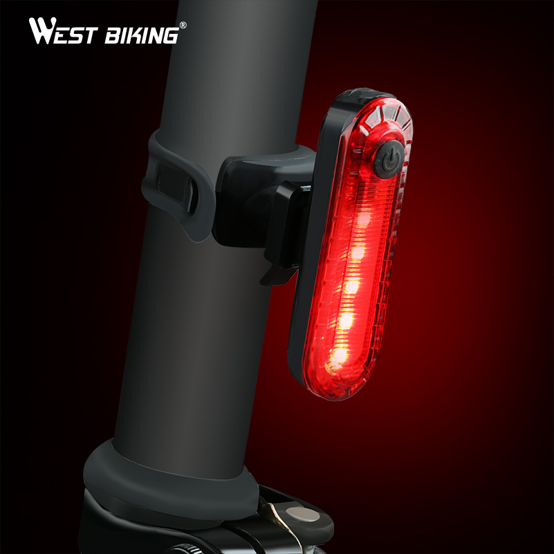 WEST BIKING Bike Light Waterproof Cycling Taillight Led USB Rechargeable Riding Rear Light MTB Bike Safety Warning Bicycle Light