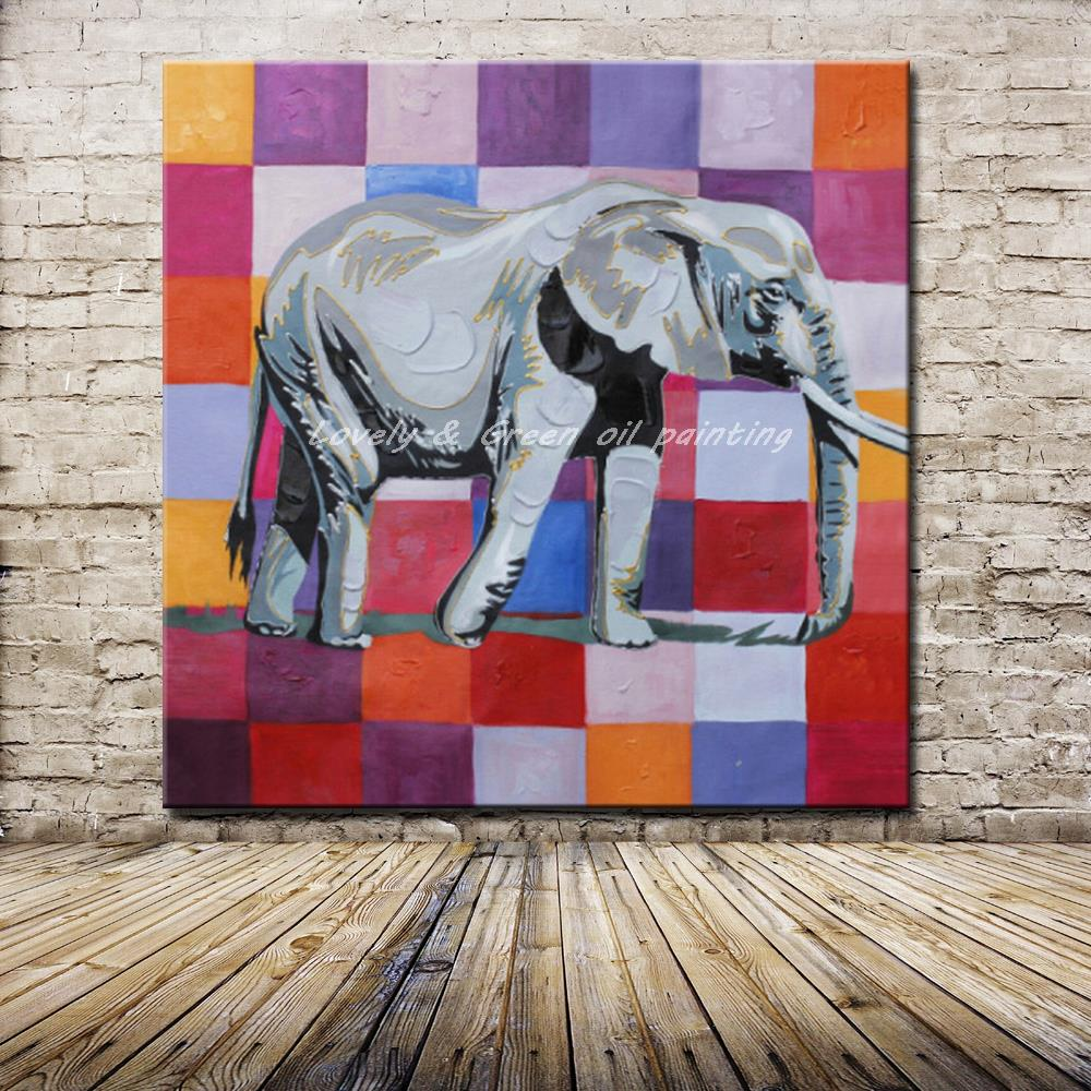 100% Hand Made Decor Works Abstract Animal Modern Wall Art Elephant Oil Painting On Canvas For Living Room Wall Decor Artworks