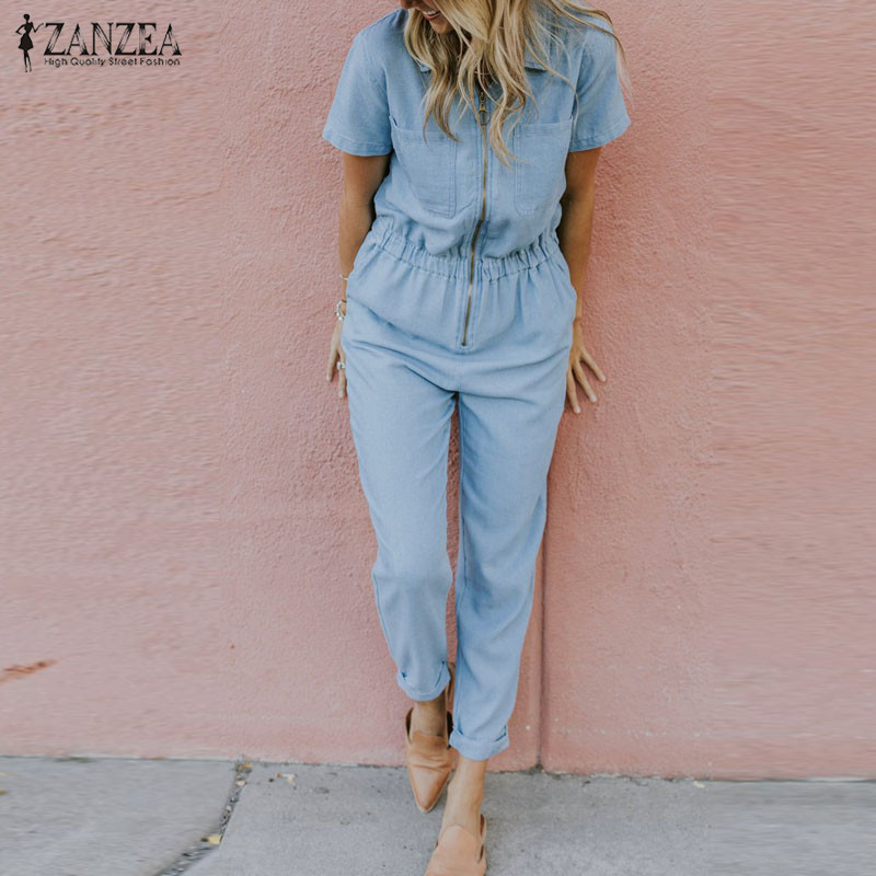 Fashion Women Rompers Summer Denim Blue Jumpsuits ZANZEA Female Lapel Neck Short Sleeve Solid Pencil Pants Chic Overalls Casual