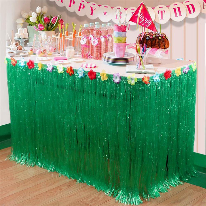 2019 Hot Hawaiian Party Decorations Luau Tropical Artificial Flowers Grass Table Skirt Birthday Party Table Decoration Supplies