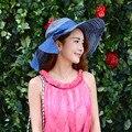 2016 de Cáñamo Algodón Mujer de Verano Sombreros de Sun Mujeres Chapéu Panamá Modelos femeninos de Encaje Puños de Paja Sombrero para el Sol Sombrero de Playa Sol sombreros