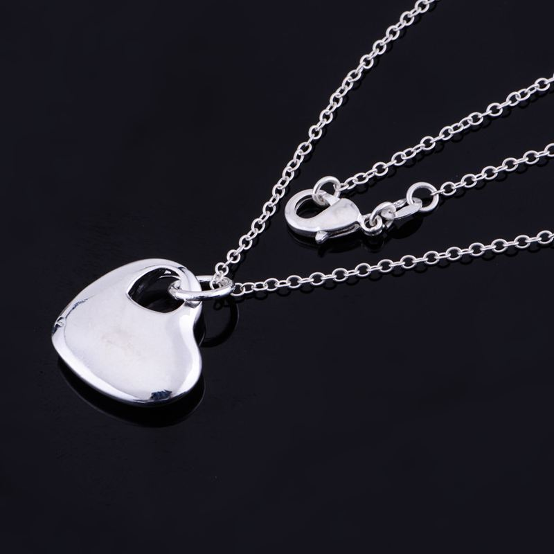 shiny cordiform light silver plated Necklace 925 jewelry silver Pandant Fashion Jewelry LQ-P148 HFMWZJPF