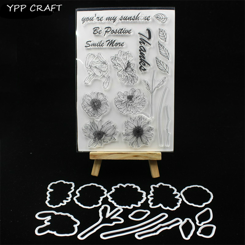 YPP CRAFT Sunflowers Stamp And Metal Cutting Dies for DIY Scrapbooking/photo album Decorative Embossing DIY Paper CardsYPP CRAFT Sunflowers Stamp And Metal Cutting Dies for DIY Scrapbooking/photo album Decorative Embossing DIY Paper Cards