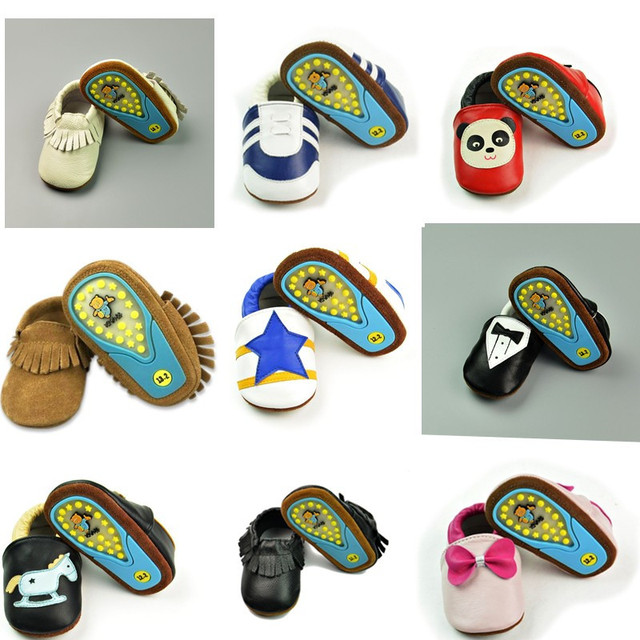 Fashion Genuine Leather Newborn Baby Kid Children First Walkers Hard Rubber Soled Outdoor Shoes Toddler Moccasins Moccs Shoe